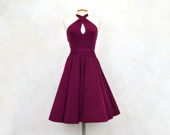 Multiposition short party dress, Marsalla party dress, marsala guest dress, wedding party dress