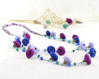 ecofriendly colorful bohemian style necklace, lilac, purple, mauve design crafts, multicolored ethnic necklace