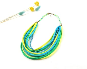 ethnic necklace african style summer colors lime green, multicolour bohemian style necklace