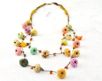 Long fabric necklace, summer colorful multicolored fabric necklace, Daniela Barbieri textile print necklace