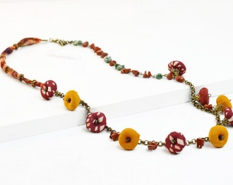 Handmade natural stone and textile bead necklace, hippiechic handmade necklace, very original handmade necklace, boho jewelry