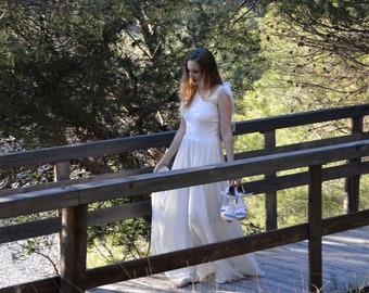 Bohemian wedding dress, hippie wedding dress, rustic wedding, vintage style bride, hippiechic wedding dress, bohemian wedding on the beach
