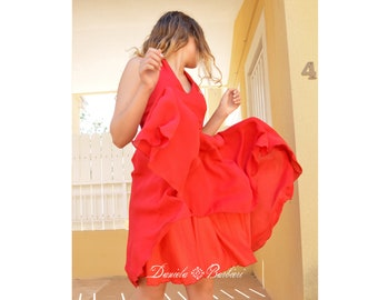 Short steamy red cherry gasa party dress Daniela Barbieri, intense red gauze dress