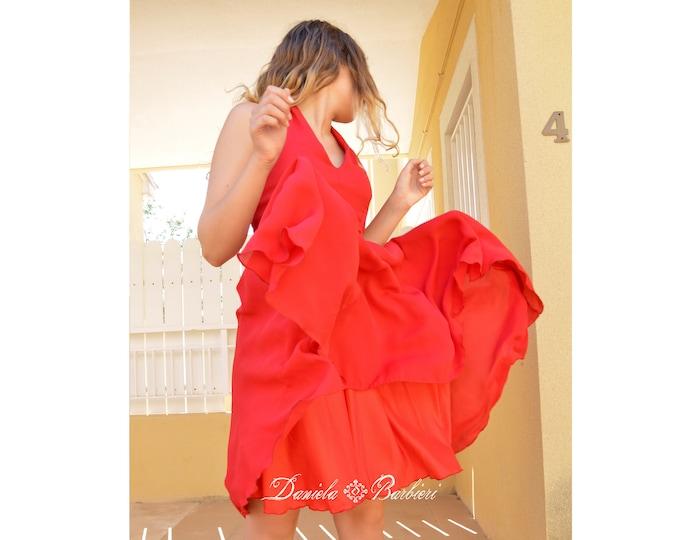 Featured listing image: Short steamy red cherry gasa party dress Daniela Barbieri, intense red gauze dress
