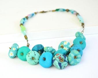 Turquoise Bead Bib Necklace, Bohemian Style Turquoise Blue Fabric Necklace, Turquoise Fabric Necklace