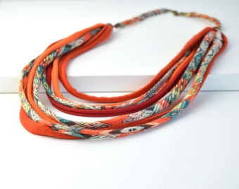 necklace fabric, necklace handmade, necklace boho chic, boho necklace, rope necklace handmade jewelry, textile necklace fabric, necklace