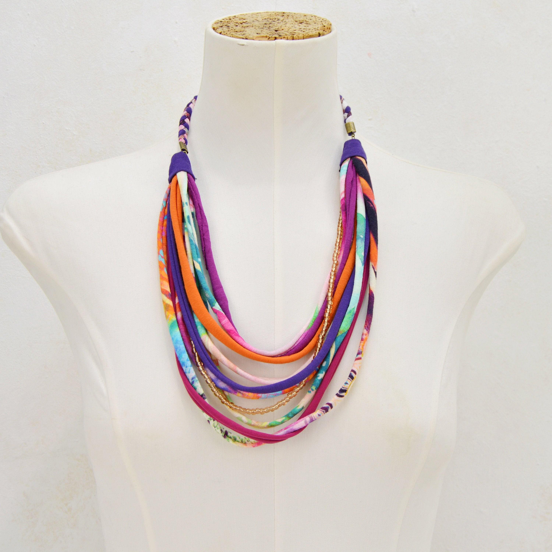 rope necklace handmade jewelry boho necklace necklace necklace handmade necklace boho chic necklace fabric textile necklace fabric