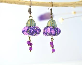 Pendientes bohemios full color, pendientes estilo boho hechos a mano de colores, originales pendientes artesanales