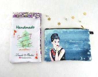 Bolso de maquillaje personalizado - mochila cosmética – Audrey Hepburn- diseño - regalo de dama de honor - mejor regalo de amiga