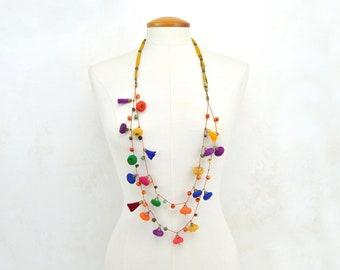 Full color necklace, long necklace, multicolored ethnic fabric necklace, very colorful textile jewelry, different necklace