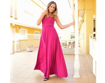 Long party dress, pink party dress, fuchsia pink infinity dress, formal long dress, fuchsia pink graduation dress