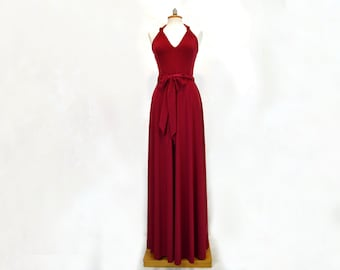 infinity satin jersey dress, ruby red infinity wrap dress for bridesmaid, Cocktail & Occasion Dresses