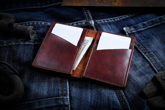 Vertical bifold wallet, slim wallet, 6 pocket wallet, minimalist wallet, mens leather wallet, vertical wallet, leather card holder.