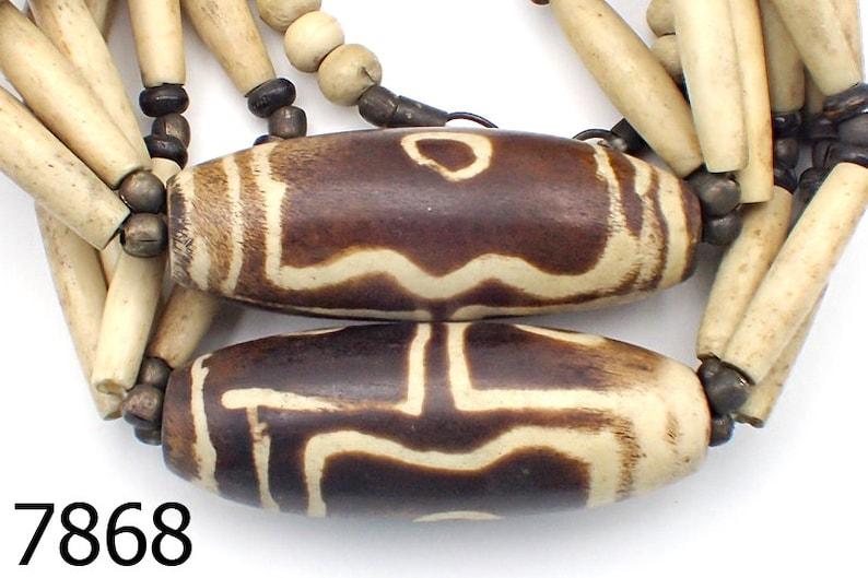 RARE Old Holy Carved RITUAL bovine Bone Beads NAGALAND Necklace #7868