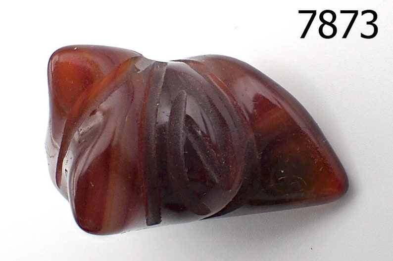 Ancient Style PYU Culture HandCarved Tulip Flower Agate Bead Pendant #7873