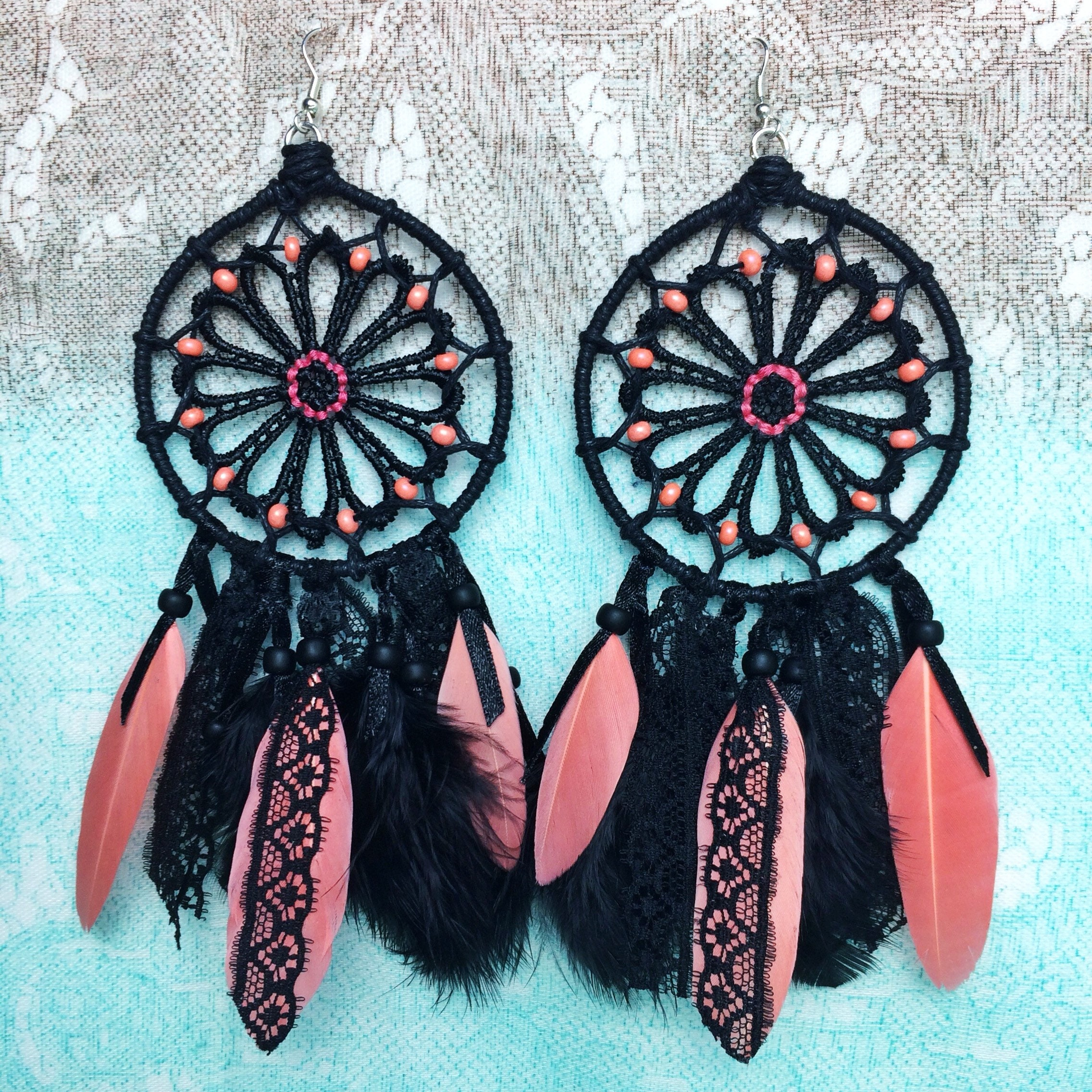 ddf3760dac4e Dream Catcher Feather Earrings in black, coral colors and lace | Handmade  Jewlery | Authentic Earrings | Gift for Women | Special Occasion
