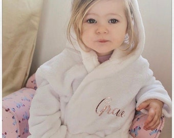 a5d7b333d4 Baby   Kids Personalised Fleece Robe Hooded Dressing Gown in Pink