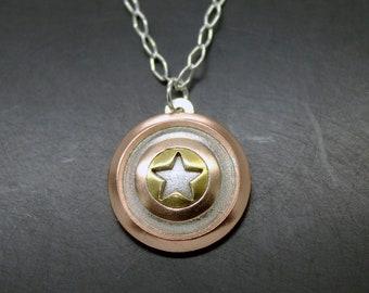 Captain America shield pendant in silver 925, brass and copper