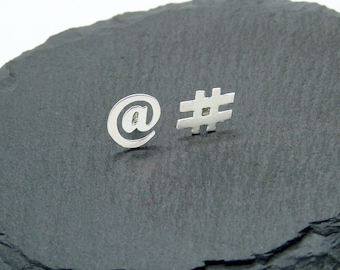 Arroba and Twitter Hashtag earrings in silver 925 small button