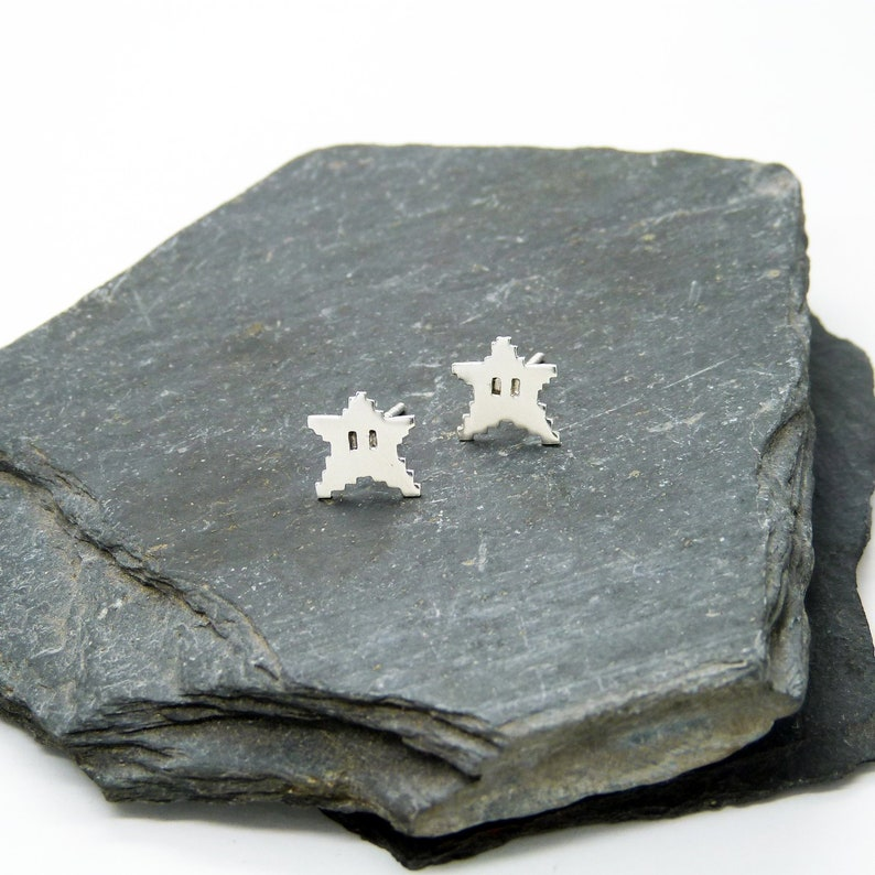 8bit Silver Stars 925 Earrings image 0