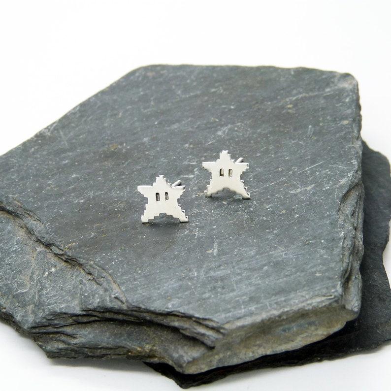 Earrings 8bits Silver Stars 925 image 1