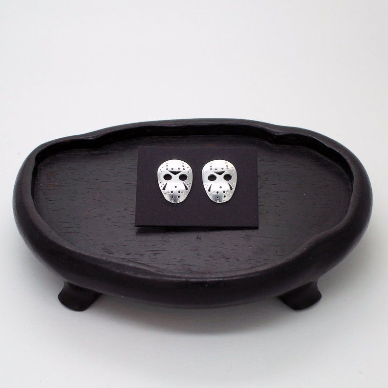 Mask Hockey Jason Voorhees Earrings Friday the 13th in Silver image 0