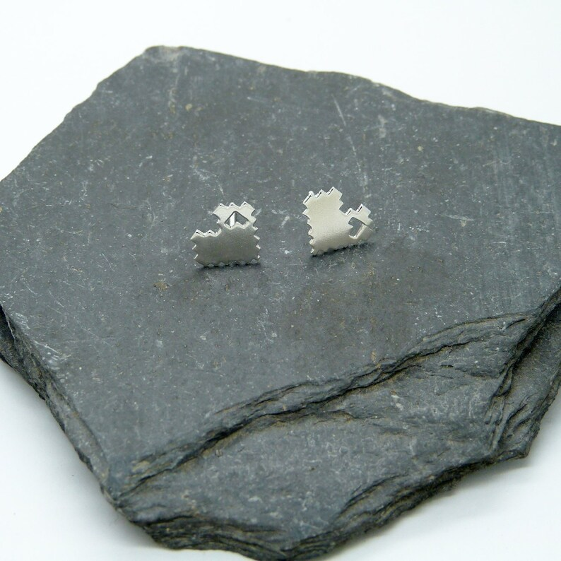 8Bits Silver Hearts 925 Earrings image 0