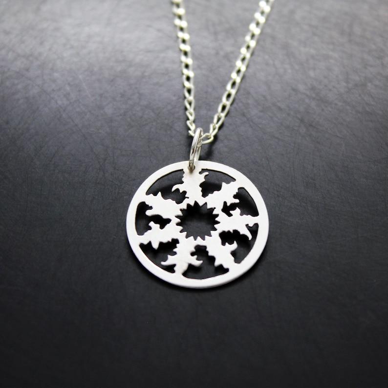 Eguzkilore pendant in 925 silver small image 0