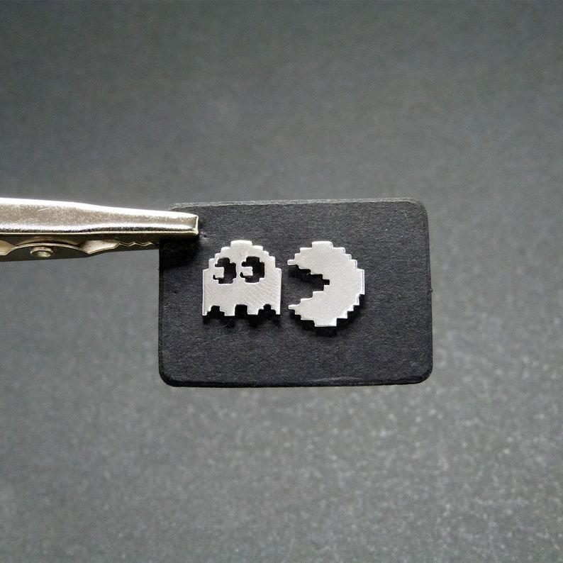 Pacman 8-bit Small Silver Earrings 925 image 0