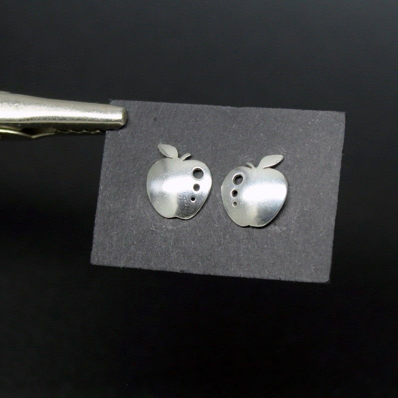 Silver apple earrings 925 image 1