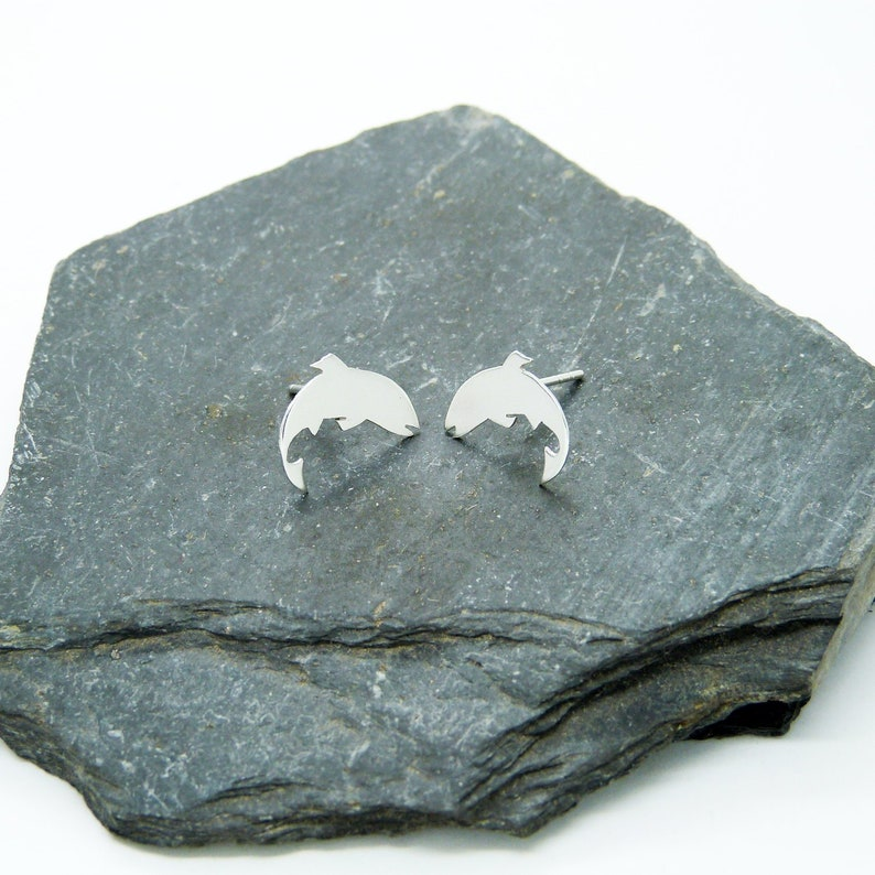 Small earrings Silver trout 925 image 1