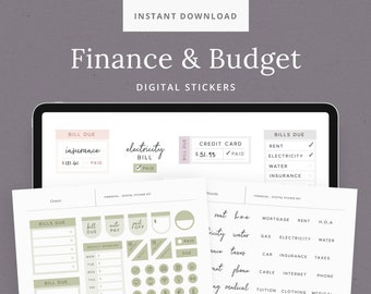 Finance & Budget Digital Sticker Set for Planners - Bill Due, Income + Expense Trackers - Minimalist GoodNotes Sticker Book - DashPlanner