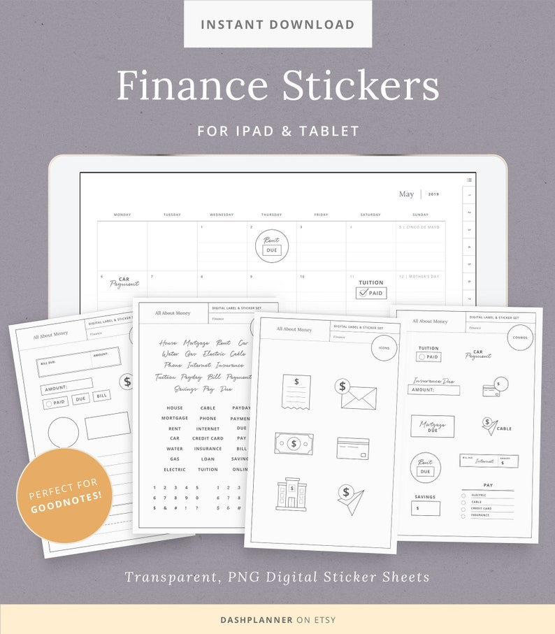 photo about Digital Planners and Organizers referred to as Electronic Stickers for Finance Planner - GoodNotes, Notability, Stickers for Timetable, and Weekly Organizers - iPad Pill - Instantaneous Down load
