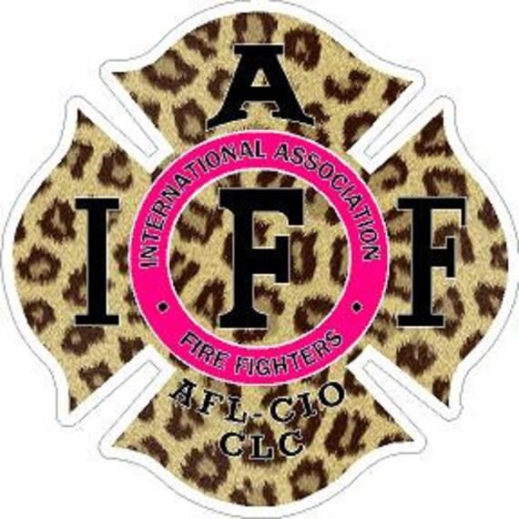 IAFF Cheetah w//Pink Text Maltese Cross Reflective Decal Sticker Fire Rescue EMT
