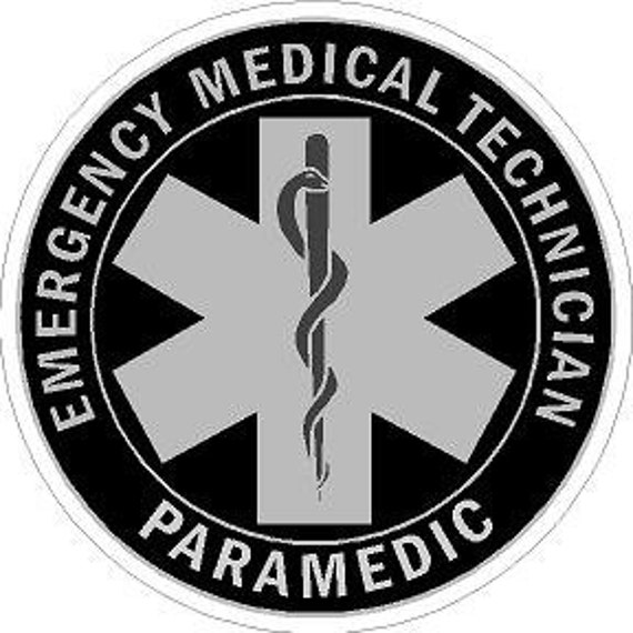 Subdued Emergency Medical Technician Reflective Vinyl Decal Sticker  Paramedic Star of Life EMS  Grey Scale, Black and Silver