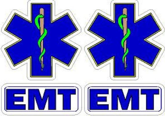REFLECTIVE FIRE HELMET CRESCENT DECALS FIREFIGHTER-E.M.T A PAIR!