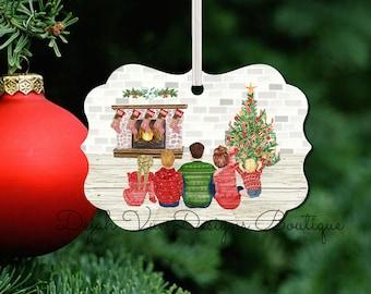 Custom Family Pajamas Christmas Decorating Christmas Ornament Digitally Painted