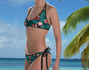 a030854930d Two Piece Designer Swimsuit With Monkeys Print