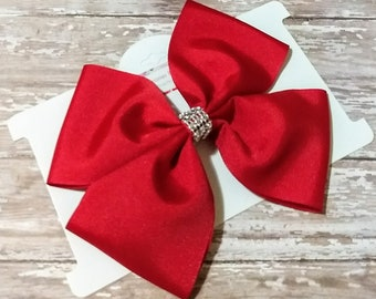 red hair bow, bright red hair bow, nylon headband, hair clips, hair bows, boutique hair bows, christmas hair bow, holiday bow, ready to ship