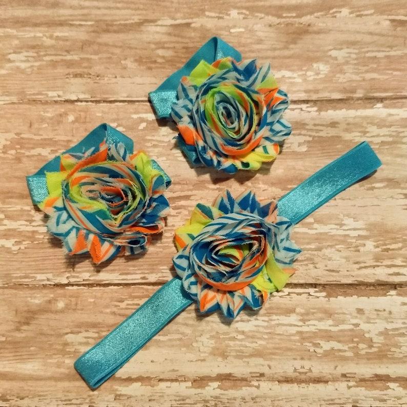 infant headbands with flowers swirl flower blue headband baby girl barefoot sandals set newborn photo prop shabby flower headband set