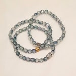 Teal ombre glass bead stretch bracelet