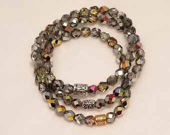 Black diamond glass bead stretch bracelet