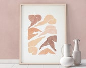 Woman figure downloadable print, Printable painting, Instant download contemporary art, Modern female illustration poster, blush beige color