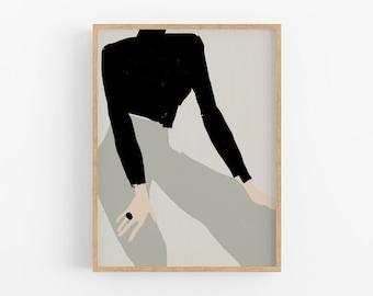 Giclee print on paper, fashion illustration, framed printed wall art, beige black female figure, living room home decor, modern drawing