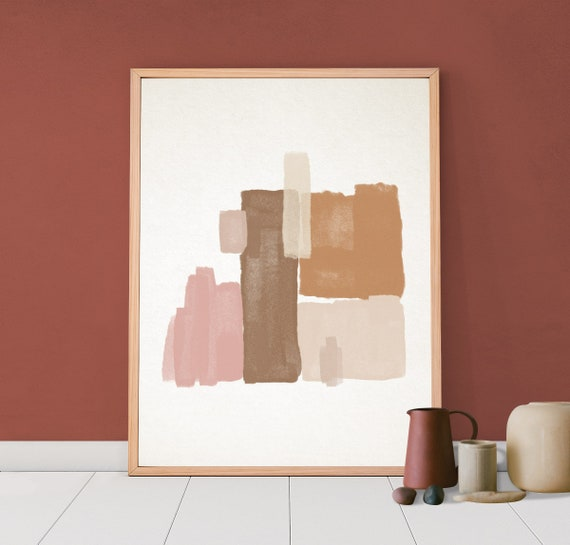 Geometric Mid Century Art, Downloadable Print, Printable Modern, Abstract Painting, Minimal Contemporary Art, Blush Pink Terracotta Pastel by Etsy