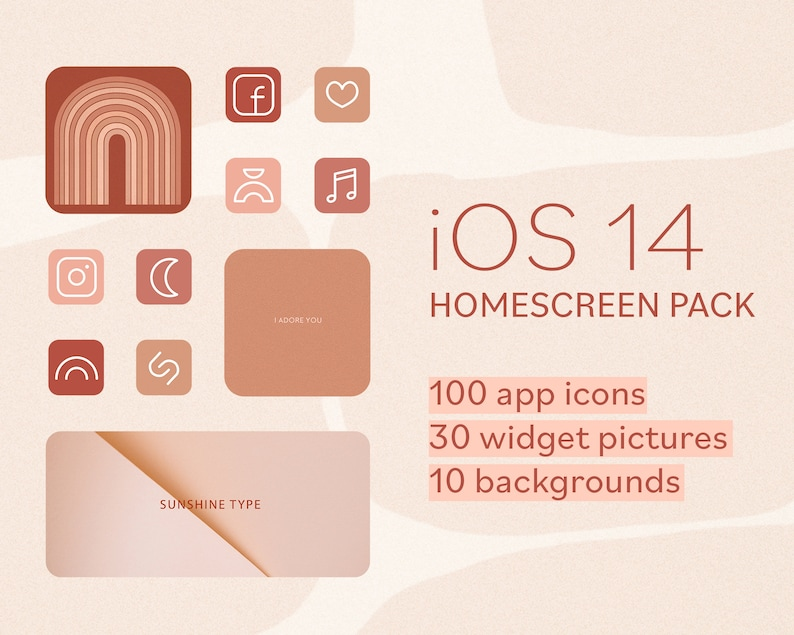 IOS 14 App Icons iPhone aesthetic home screen Wallpaper | Etsy