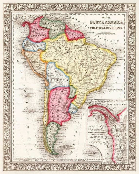 Map South America 1868 original vintage!