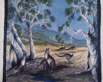Australian Handpainted Silk Scarf Kangaroo under the Gum Trees