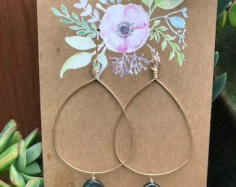 14k gold-filled teardrop hoops with Mother of Pearl danglers
