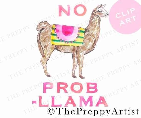 Instant Download Preppy Printable Llama Clipart Funny Llama Clip Art Funny Llama Graphics No Prob Llama Clipart Llama Png Alpaca